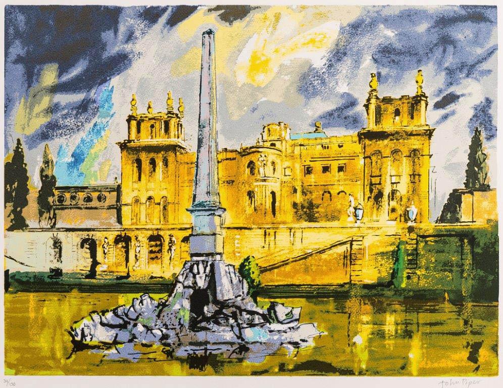John Piper Blenhiem Palace Duchene Fountain Screenprint 1989